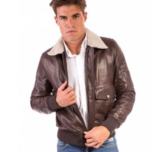 BROWN VINTAGE WIZENED EFFECT LAMB LEATHER JACKET
