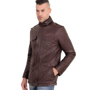 DARK BROWN COLOR VINTAGE LAMB LEATHER JACKET