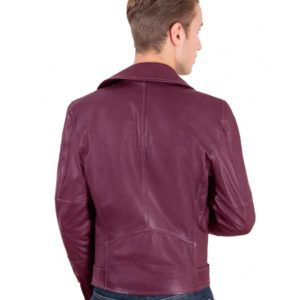 Maroon Perfecto Lamb belted leather biker jacket