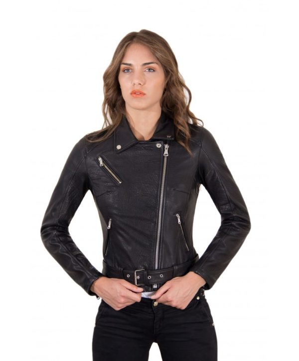Black Color Lamb Leather Belted Jacket Wizened Effect