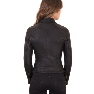 Black Color Lamb Leather Belted Jacket Wizened Effect