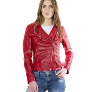 Red Color Nappa Lamb Leather Belted Jacket Smooth Effect