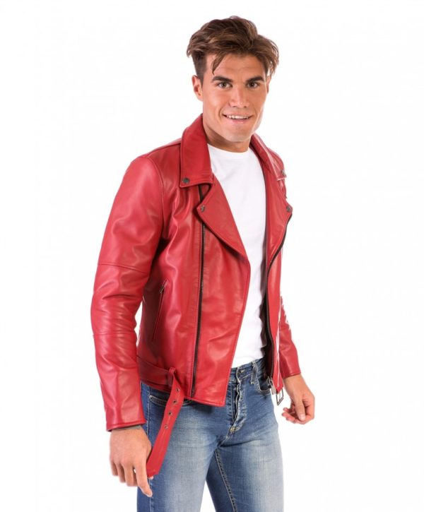 Red Perfecto Lamb Belted Leather Biker Jacket