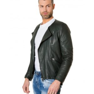 Green Colour Lamb Leather Jacket No Collar Perfecto