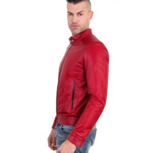 Red Color Nappa Lamb Quilted Leather Biker Jacket