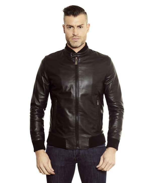 Black Colour Leather Bomber Jacket Smooth Aspect