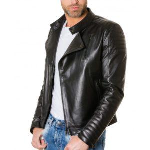 Black Lamb Leather Biker Jacket