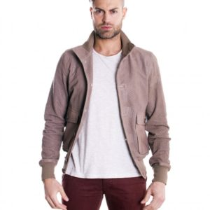 Grey lamb leather bomber jacket