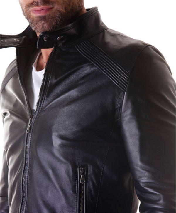 Black Nappa Lamb Leather Biker Jacket korean Collar