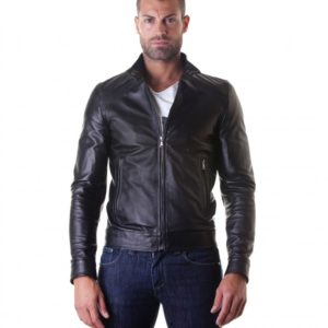 Black Nappa Lamb Leather Biker Jacket korean Collar