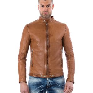 Tan Vintage Effect Lamb Leather Jacket