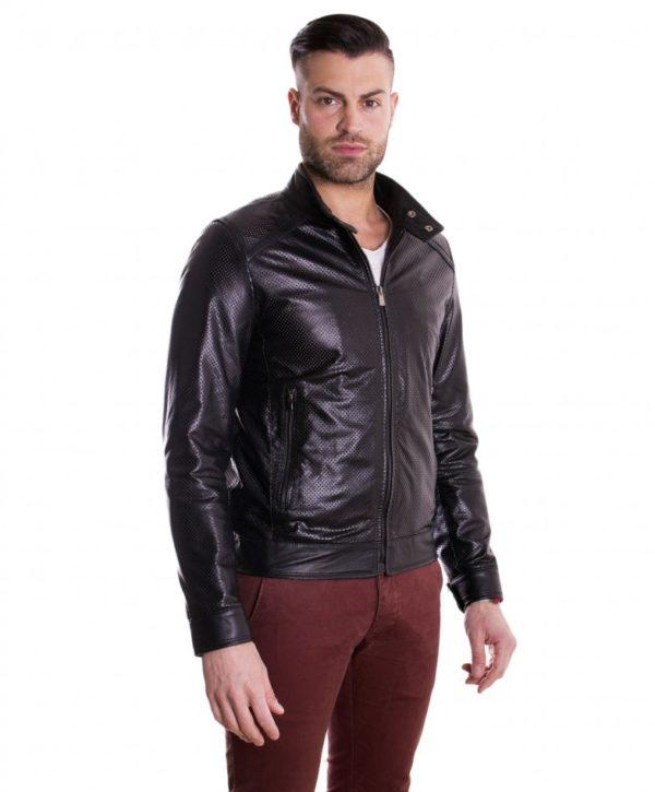Black Perfored Lamb Leather Jacket