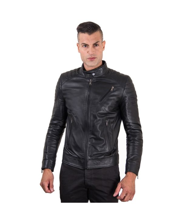 Black Nappa Lamb Leather Biker Quilted Jacket