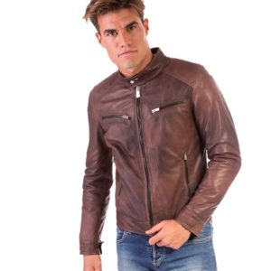 Brown Nappa Lamb Leather Jacket Four Pockets korean Collar