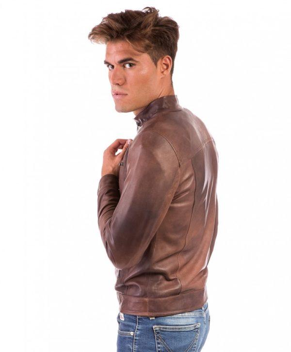 Brown Nappa Lamb Leather Jacket Four Pockets korean Collar
