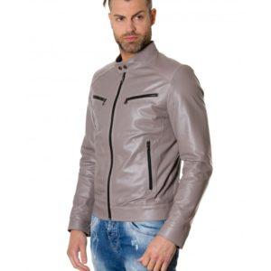 Grey Colour Lamb Leather Jacket Mao Collar Vintage Aspect