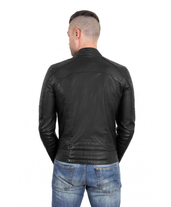 Black Color Nappa Lamb Leather Biker Perfecto Jacket Smooth Effect