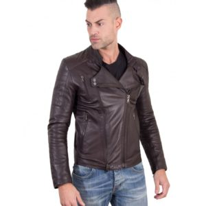 Brown Color Nappa Lamb Leather Biker Perfecto Jacket Smooth Effect