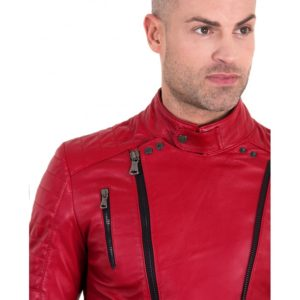 Red Color Nappa Lamb Leather Biker Perfecto Jacket Smooth Effect
