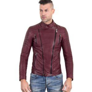 Maroon Color Nappa Lamb Leather Biker Perfecto Jacket Smooth