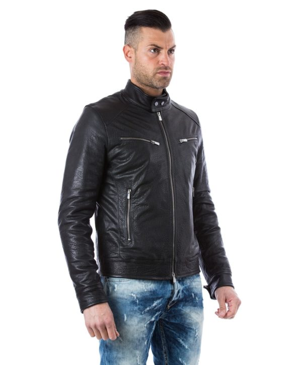 Black Calf Wizened Leather Jacket Four Pockets Korean Collar