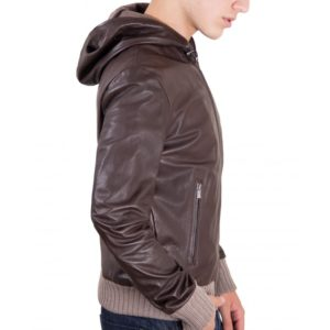 BROWN LAMB LEATHER HOODED BOMBER JACKET
