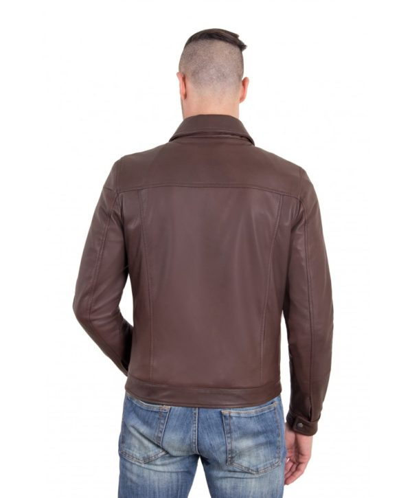 Dark Brown color Nappa Lamb Leather Jacket Shirt Collar