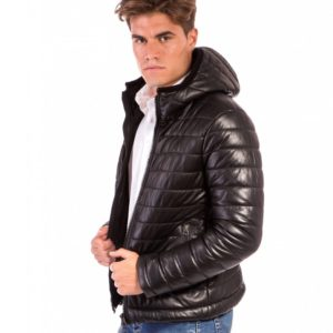 Black Lamb Leather Hooded Down Jacket
