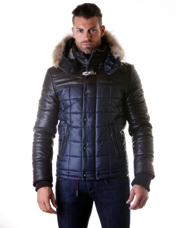 Blue Brown Leather Fabric Down Hooded Jacket