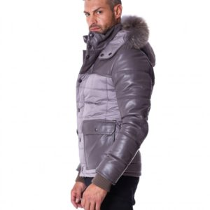 Grey Leather Fabric Down Hooded Jacket