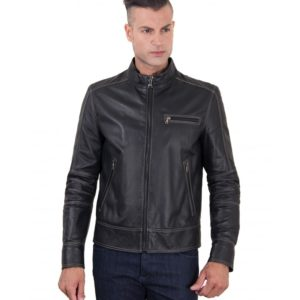 Black Lamb Leather Jacket Contrast Stitching