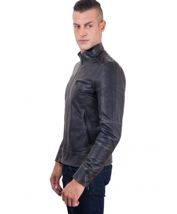 Blue Lamb Leather Jacket Contrast Stitching
