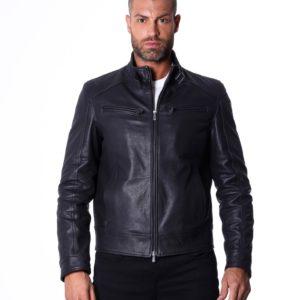 Black Calf leather Buckle Biker Jacket