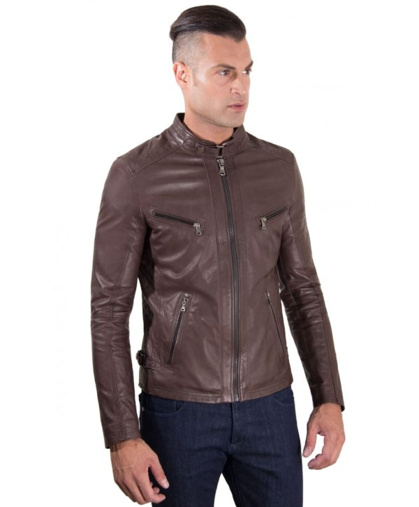 Brown Vintage Effect Lamb Quilted Leather Biker Jacket