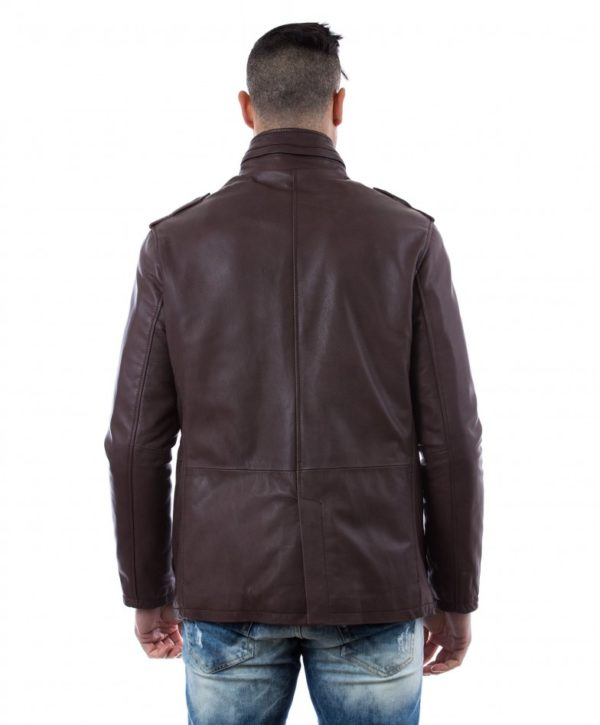 BROWN LAMB LEATHER JACKET FOUR POCKETS