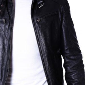 Black Creased Lamb Leather Buckle Biker Jacket