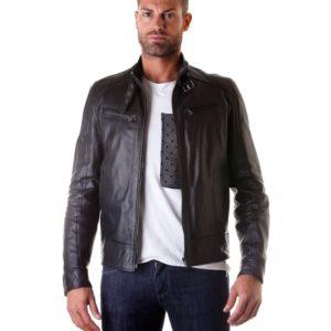Black Lamb Leather Buckle biker jacket