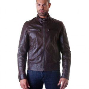 Brown Vintage Effect Lamb Leather Buckle Biker Jacket