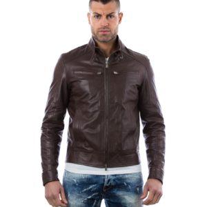 Brown Nappa Lamb Leather Buckle Biker Jacket