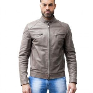 GREY LAMB LEATHER BIKER JACKET