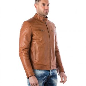 Tan Lamb Leather Biker Jacket