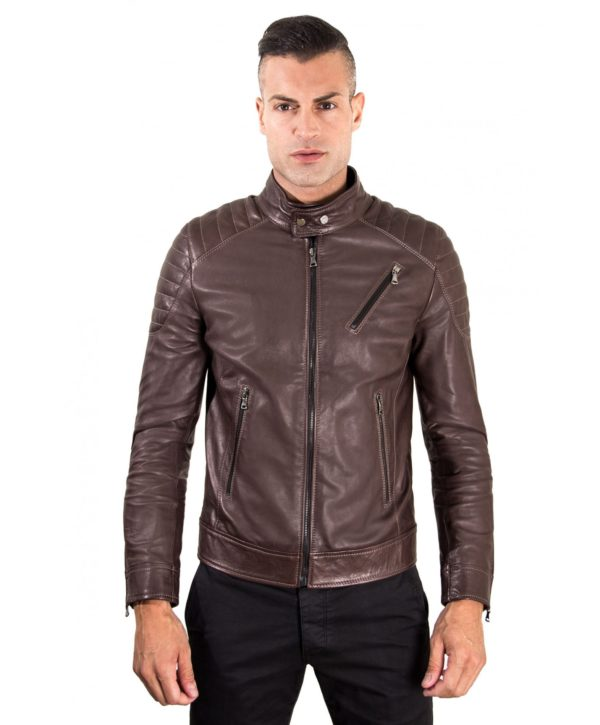 men-s-leather-jacket-genuine-soft-leather-biker-quilted-yoke-dark-brown-color-u411