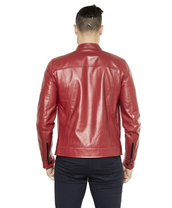 Red Nappa Lamb Leather Jacket Four Pockets korean Collar