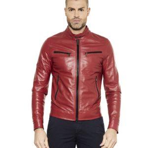 Red Nappa Lamb Leather Jacket Four Pockets Korean Collar