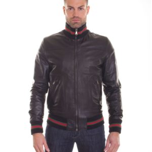 Black Lamb Leather Bomber Jacket Two Pockets