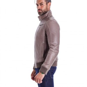 Grey Lamb Leather Bomber Jacket