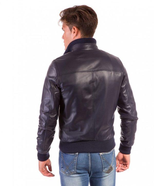 Blue Nappa Lamb Leather Jacket