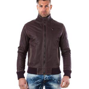 Red Purple Lamb Leather Bomber Jacket