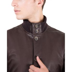 Brown Nappa Lamb Bomber Leather Jacket