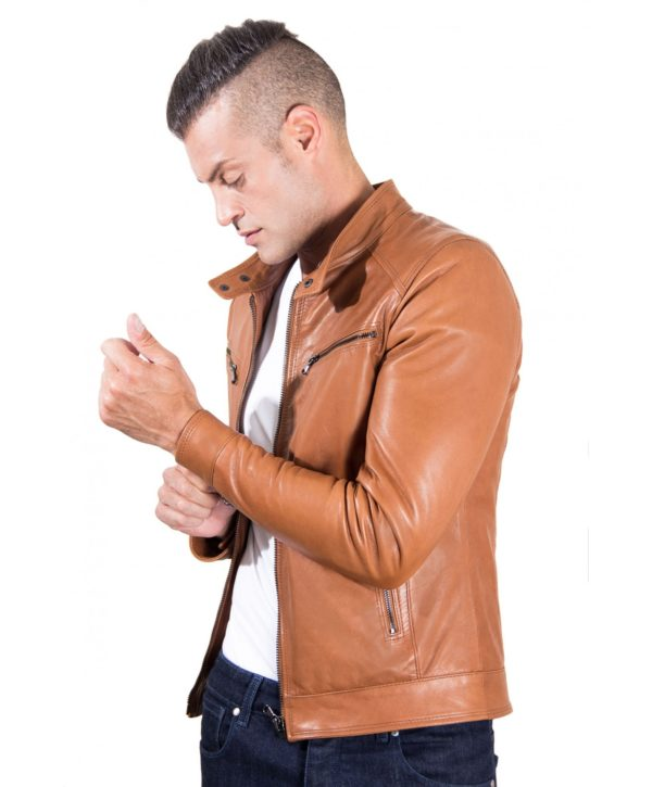 Tan Vintage Effect Lamb Leather Jacket Four Pockets korean Collar